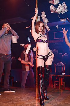 Busty Redhead Stripper Gets Fucked On Stage