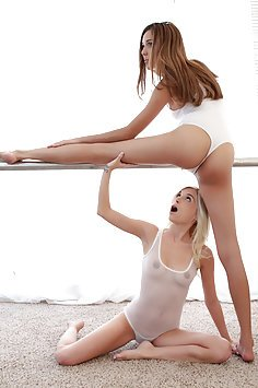 Two Sexy Ballerinas Sharing A Hard Cock