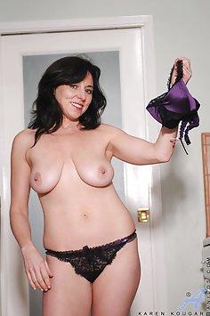 Karen Kougar Plays With Her Glass Dildo